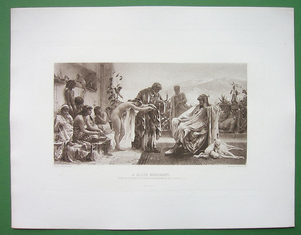 NUDE Slave Merchant Roman Buys Girls Slaves - Victorian Era Print