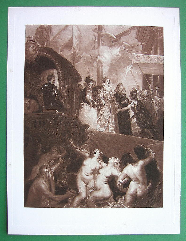 NUDE Landing of Catherine de Medicis Nymphs - SUPERB Victorian Era Antique Print