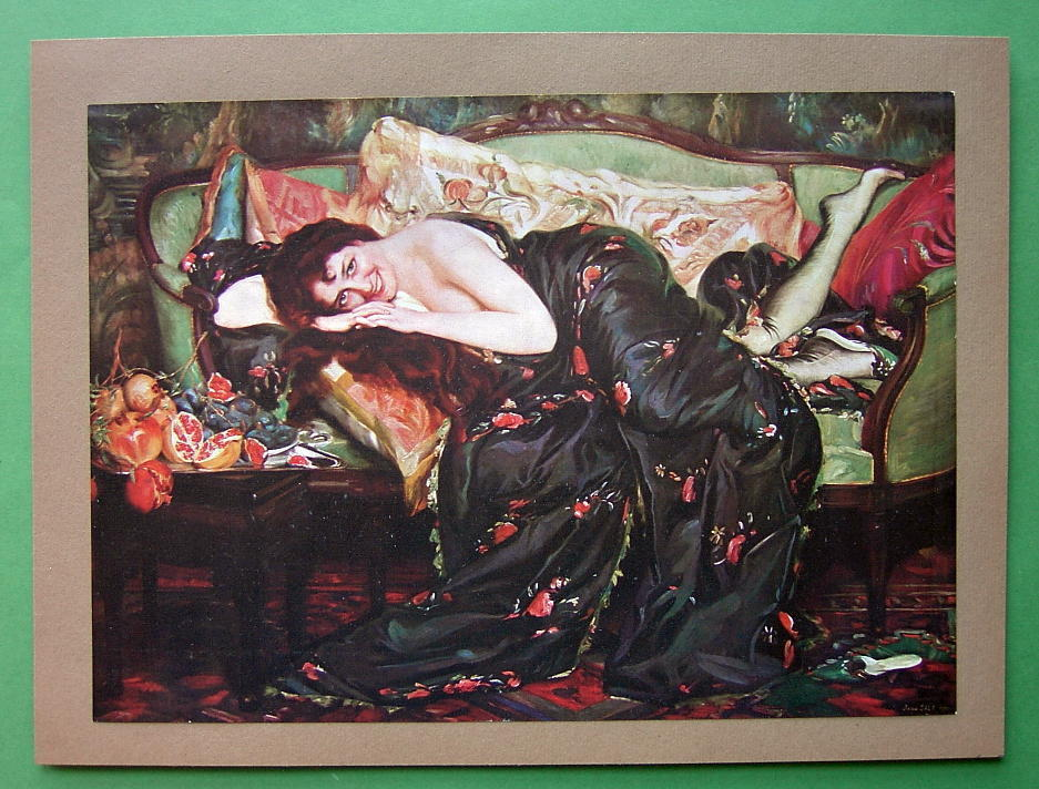 NUDE Cheerful Girl on Sofa Fruits - Victorian COLOR Antique Print