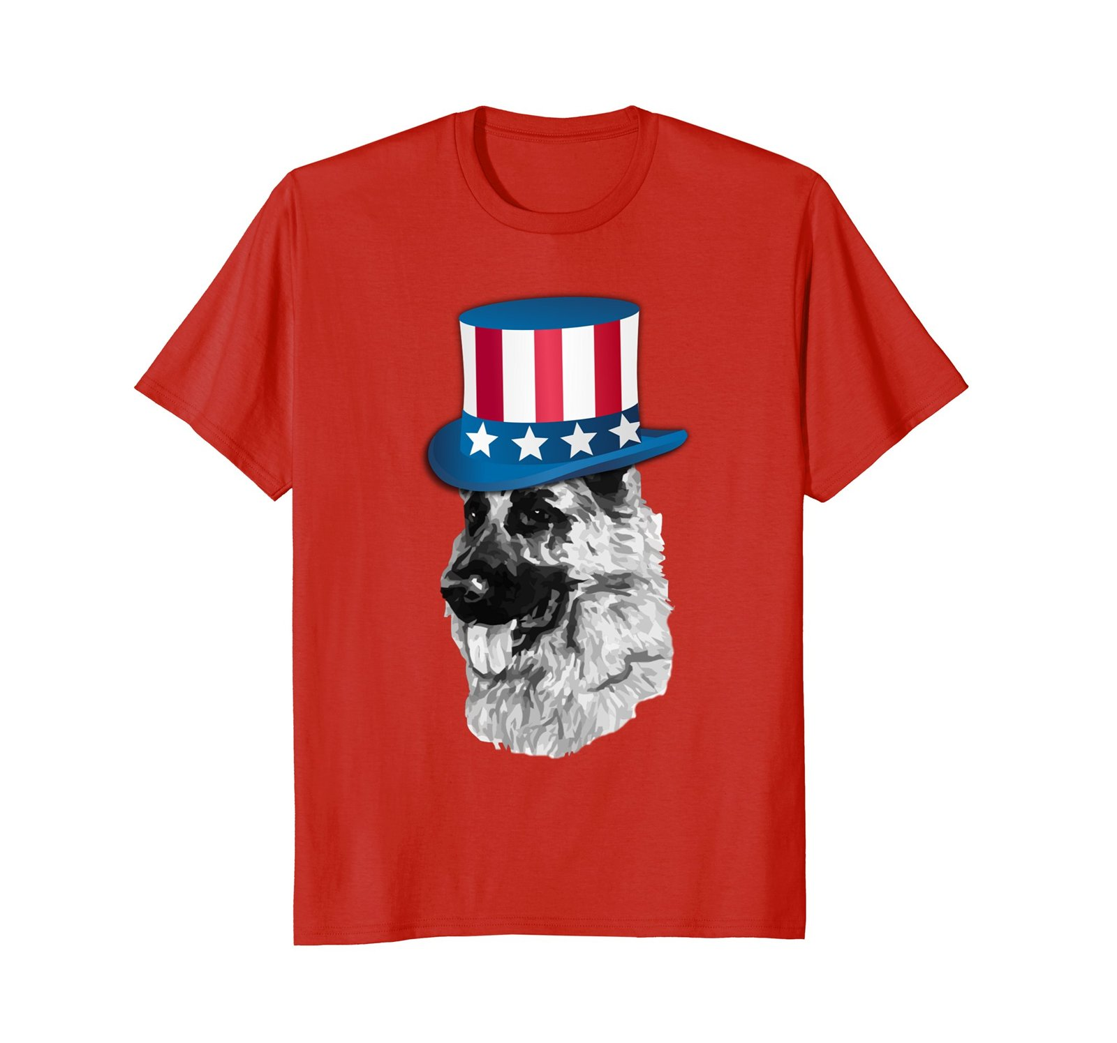 German Shepherd T Shirt - American Flag Hat 4th of July Dog