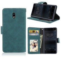 Matte Finish Wallet PU Leather Stand Cell Phone Case for Nokia 3 - Blue - $7.53