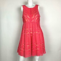 Free People Dress Pink Lace Fit Flare Sleeveless Pink open back  Sz 6 - $39.99