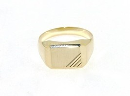 18K YELLOW GOLD BAND MAN RING RECTANGULAR ENGRAVABLE SATIN SMOOTH MADE IN ITALY image 1