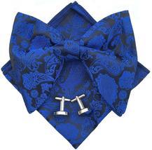 Handmade Mens Pre-Tied Paisley Bowtie Oversized Tuxedo Bow Tie Hankie - $42.49