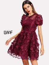 Floral Applique Puff Sleeve Mesh Overlay Dress - $109.99