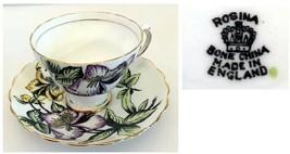 Rosina Fine Bone China England Cup & Saucer  White Green Purple Yellow F... - $32.00