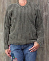 Mens Vneck Sweater M size Tommy Bahama Soft Plush Cotton Gray Career Casual - $30.93
