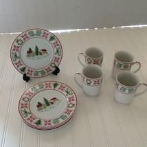 Vintage Christmas Sampler 8 piece Mugs & Dessert Plates Designed for Saks - $34.64