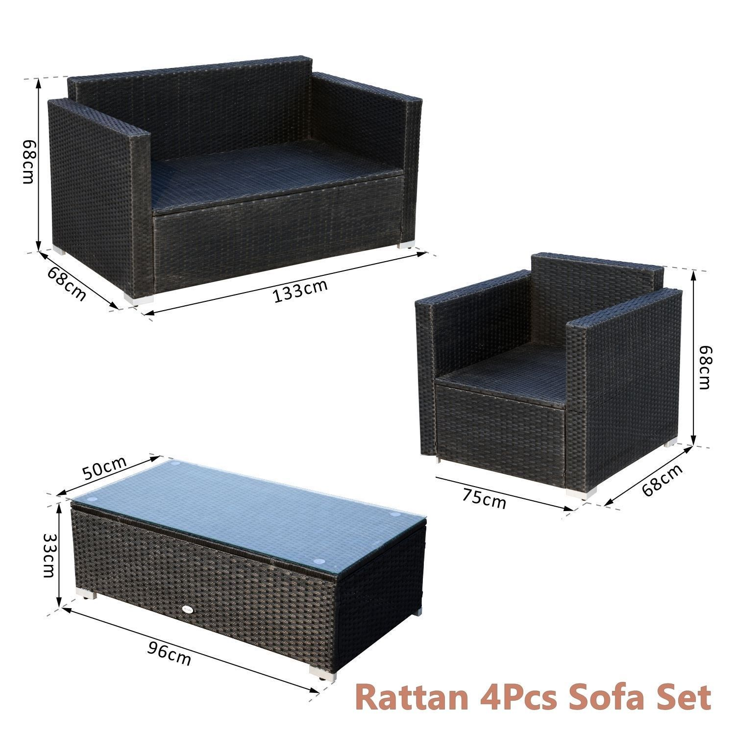 Rattan Sofa Cushioned Set Garden Wicker Glass Top Table Armchairs 4Pcs Black New image 7