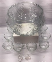 Punch Bowl Glass Clear With 8 Cups Grapes And Leaves Holiday Party's  L1 - $18.55