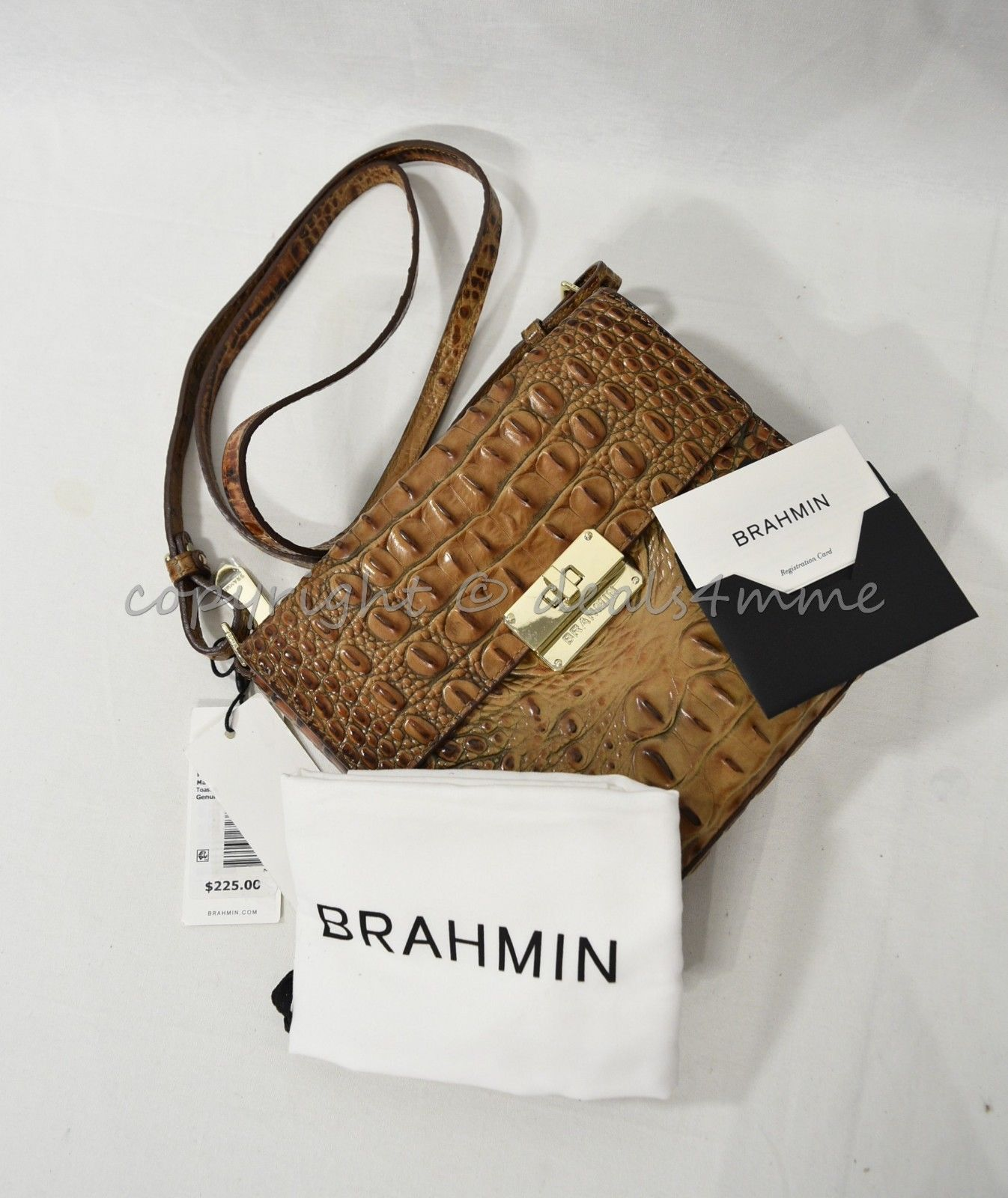 NWT Brahmin Manhattan Leather Shoulder/Crossbody Bag in Toasted Almond Melbourne image 8