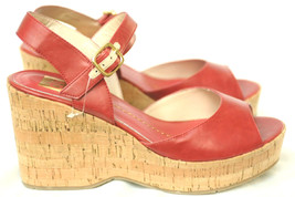 NEW Dolce Vita DV Red Cork Wedge Heel Sandals Shoes Women's 9 Distressed... - £16.04 GBP