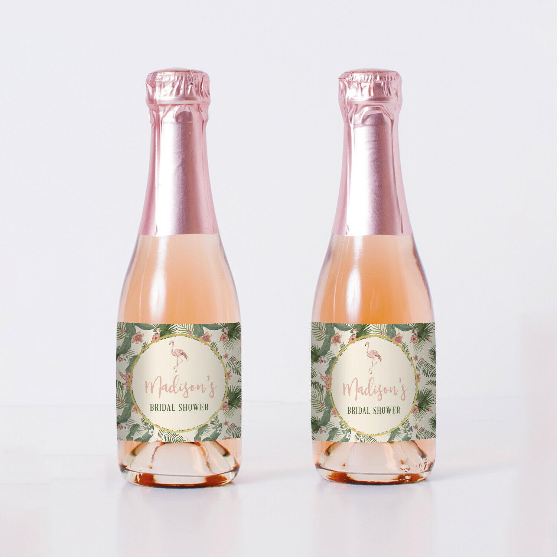 Flamingos and Tropical Flowers Bridal Shower Mini Bottle Labels - set of 20