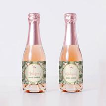 Flamingos and Tropical Flowers Bridal Shower Mini Bottle Labels - set of 20 - $9.41