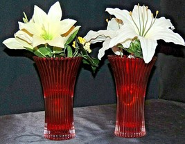 Red Vase with Flowers (Pair) by FTD Limited AA20-7336 Vintage