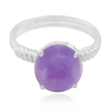 Natural Gemstone  Round cabochon Amethyst ring - 925 Sterling Silver Pur... - $11.99