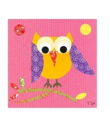 Oopsy Daisy Mod Owl On Pink Stretched Canvas by Rachel Taylor, 21 x 21 INCH - $80.67
