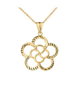 Solid Gold Designer Sparkle Cut Flower Player Pendant Necklace Yellow Ro... - $118.70+