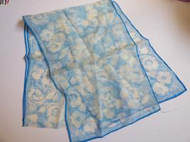 "VTG Vera Neumann Scarf 1970s  10.5"" x 61"" White Blue chiffon floral - €24,09 EUR"