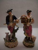 VINTAGE Set of 2 POPE Signed FIGURINES Man WOMAN Colonial DRESS Round BASE - $106.64