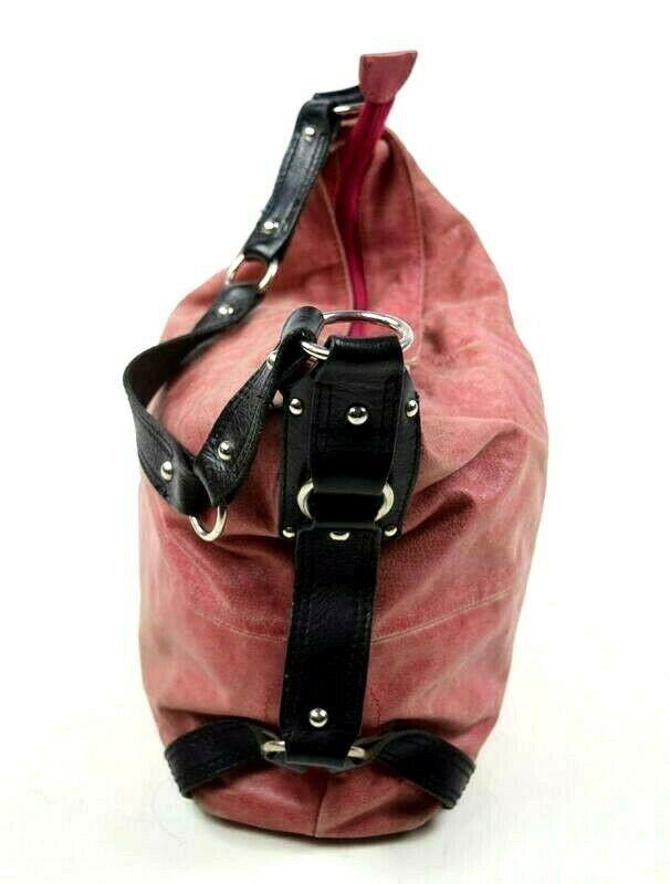 Tano Red Leather Hobo Shoulder Bag Studded Harness Strap Satchel Purse Medium image 5