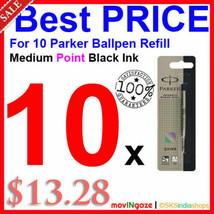 10x Parker Quink Flow Ball-Point Medium Black Ink Refill * Limited Stock Offer * - $16.88