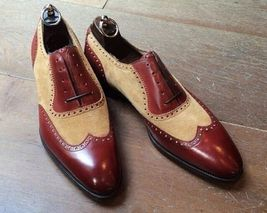 Handmade Men's Burgundy & Beige Wing Tip Leather & Suede Dress Oxford Shoes image 4