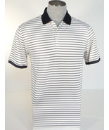 Men's Nike Golf Polo Shirt White Black Stripe Short Sleeve Dri Fit 887223466109 - $74.99
