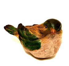 Small Bird Figurine Wood Look Resin Brown Green Detailed 5 inches Long - $24.74