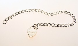 Sterling Silver Bracelet Curb Chain & Padlock Child's Small Size 5.5 inches - $10.52