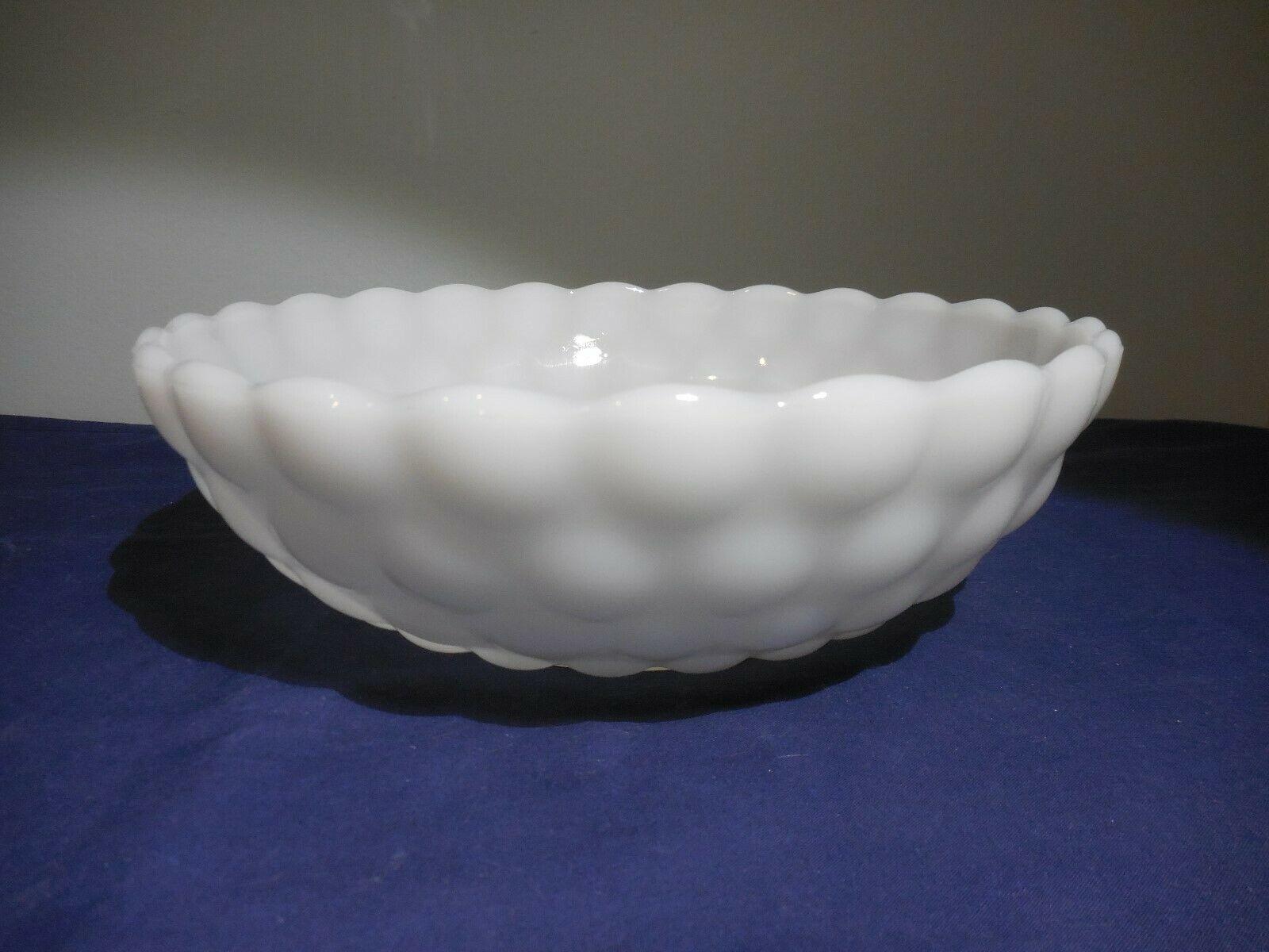 "Anchor Hocking White Bubble ""Bullseye"" Milk Glass Bowl Scallop 8"" - $7.91"