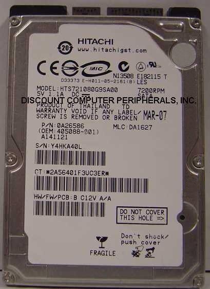 "NEW 80GB Hitachi 7200RPM SATA 2.5"" hard drive HTS721080G9SA00 Free USA Ship"