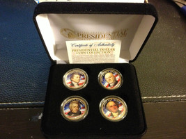 2008 USA MINT COLORIZED PRESIDENTIAL $1 DOLLAR 4 COINS SET WITH BOX Cert... - $21.03