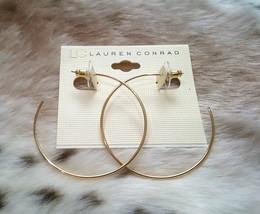"""LC LAUREN CONRAD GOLD TONE HOOP EARRINGS 2"""" - $6.99"""