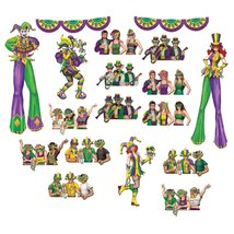 Club Pack of 204 Mardi-Gras Party Goers and Entertainers Wall Decoration... - €78,17 EUR