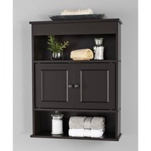 Bathroom Cabinet Shelves Wall Organizer Storage Small Hanging Brown Towe... - $59.99
