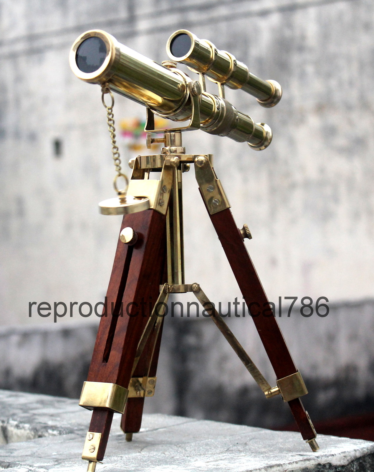 Vintage Brass Double Barrel Tripod Telescope Nautical Maritime Antique Spyglass