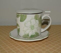 Tea Cup, Strainer, Lid  Andrea by Sadek  NEW  green white Magnolia Willi... - £10.44 GBP
