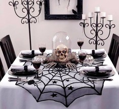 Halloween Party Tablecloth Black Lace Spider Web Cover Table Runner Hous... - $7.69