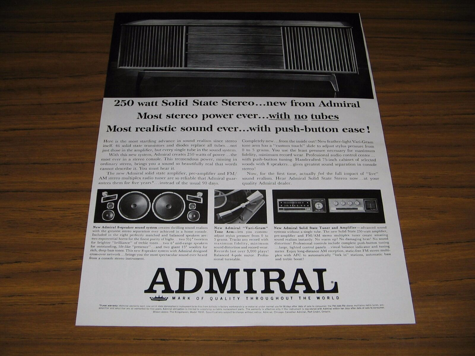 Primary image for 1964 Print Ad Admiral Solid State Stereo Console Phonograph Speakers