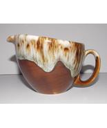 USA Pottery Brown Drip Creamer 3in Coffee Vintage Glaze Tan Coffee Tea S... - $14.99