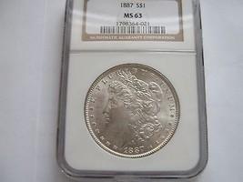 1887 , Morgan Silver Dollar , NGC , MS 63 - $75.00