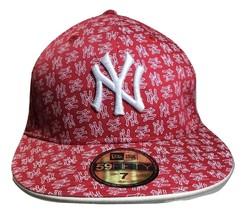 New Era Cap Fitted 59Fifty MLB New York Yankees Print Red White Custom 5... - $19.79