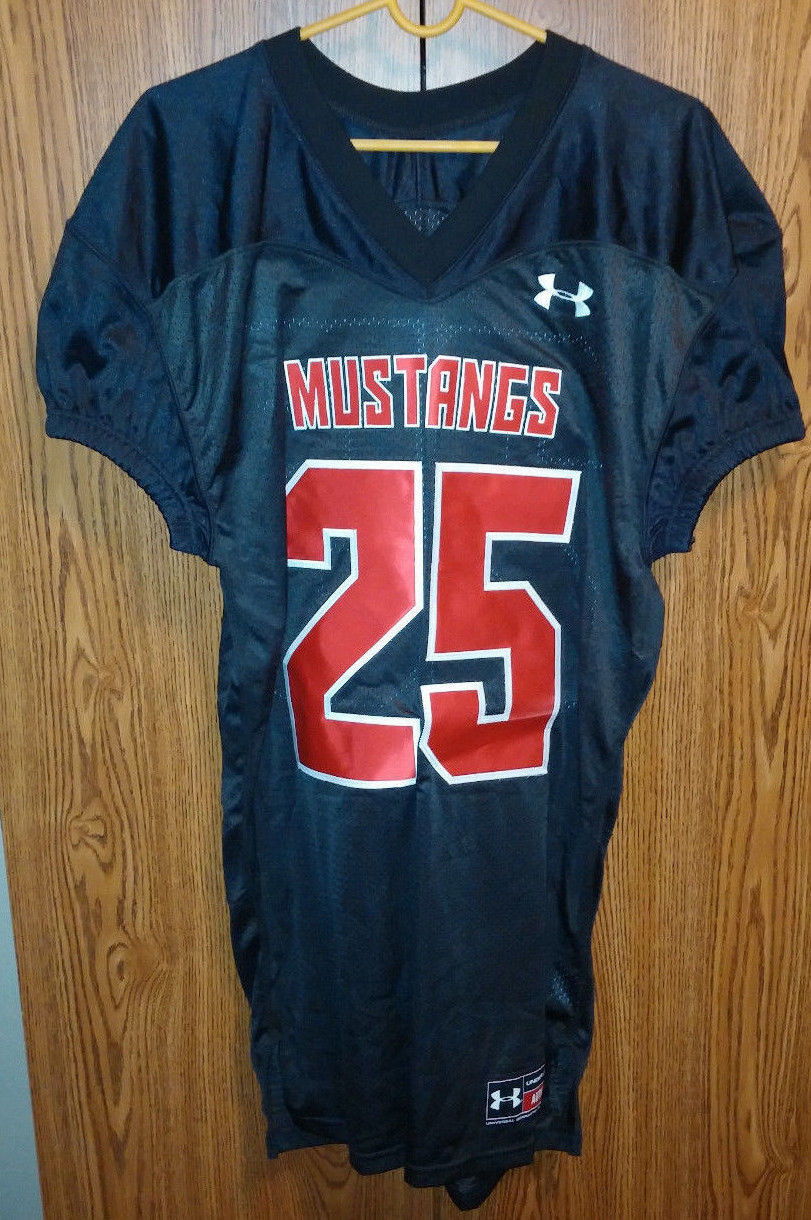 Primary image for Under Armour football Jersey Mustangs #25 Black Red Sewn Adult Large SMU