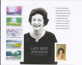 LADY BIRD JOHNSON 1912 2012 CENTENNIAL - (USPS) MINT SHEET STAMPS - $7.95