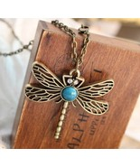 Vivid Vintage Bronze Dragonfly Long Chain Necklace - $5.99