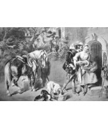 FALCONER DAUGHTER Flirting & Horse - 1844 Original Lithotint Print by F.... - $54.45