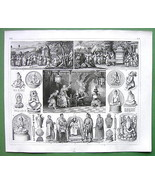 CHINA Japan Mythology Sticks of Fate Processions - 1844 SUPERB Antique P... - $21.78
