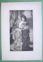 ORIGINAL ETCHING - Child with Little Lamb Kid after Raphael - $17.82