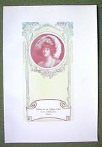 LADY Fancy Hat Art Nouveay Address card Design - 1911 Offset Litho Print - $8.42